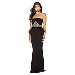 Quiz - Black diamante and pearl embellished peplum maxi dress