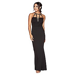Quiz - Black beaded high neck fishtail maxi dress