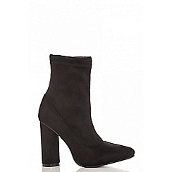 Quiz - Black faux suede pointed sock boots