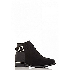 Quiz - Black faux suede and polyurethane gold trim ankle boots