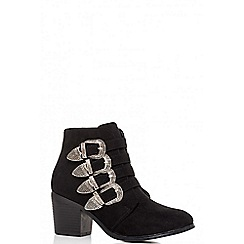 Quiz - Black 4 buckle western ankle boots