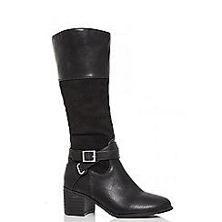 Quiz - Black polyurethane block heel buckle boots