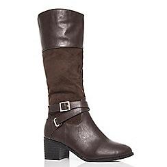 Quiz - Brown polyurethane block heel buckle boots