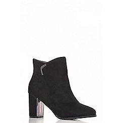 Quiz - Black faux suede silver trim ankle boots