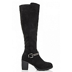Quiz - Black diamante trim knee high boots