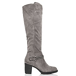 Quiz - Grey diamante trim knee high boots
