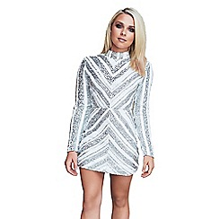 Quiz - Gabby´s white and silver long sleeve turtle neck  dress