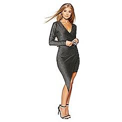 Quiz - Gabby's silver long sleeves asymmetric front dress