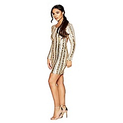 Quiz - Gabby´s cream and gold sequin stripe cut out bodycon dress