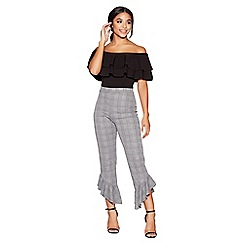 Quiz - Grey check frill hem trousers