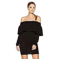 Quiz - Black chunky knit bardot frill detail jumper dress