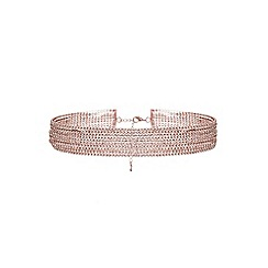 Quiz - Rose diamante row choker