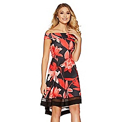 Quiz - Black and red floral print bardot dip hem dress