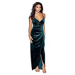 Quiz - Green velvet wrap split maxi dress