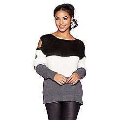 Quiz - Black cream and grey cut out knit jumper