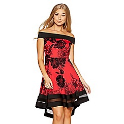 Quiz - Red and black glitter flock floral print bardot dip hem dress