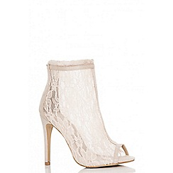 Quiz - Nude lace peep toe shoe boots
