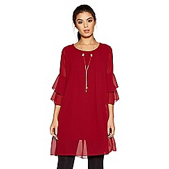 Quiz - Berry frill sleeve necklace tunic dress