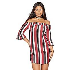 Quiz - Wine cream and black stripe bardot tunic dress