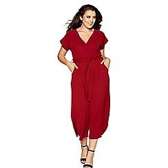 Quiz - Curve berry crepe wrap front culotte jumpsuit
