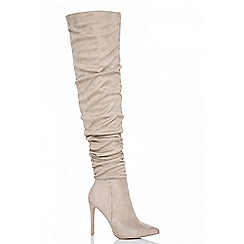 Quiz - Nude faux suede over the knee heel boots