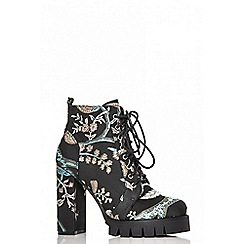 Quiz - Black and blue embroidered shoe boots