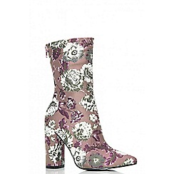 Quiz - White and pink embroidered boots