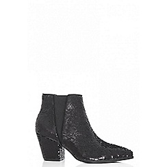 Quiz - Black sequin pointed ankle boots