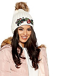 Quiz - Cream knitted embroidered pom pom hat
