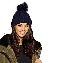 Quiz - Navy knitted fur pom pom hat