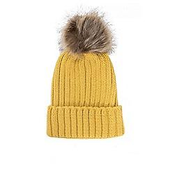 Quiz - Mustard knitted contrast pom pom hat