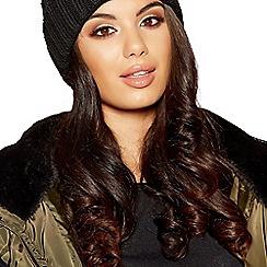 Quiz - Black knitted multi contrast pom pom hat