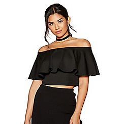 Quiz - Black bardot frill top