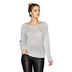 Quiz - Light grey knit pearl details long sleeve jumper