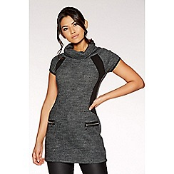 Quiz - Dark grey knit cap sleeve tunic top