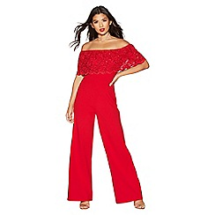 Quiz - Red sequin lace bardot jumpsuit