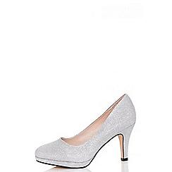 Quiz - Silver glitter midi heel shoes