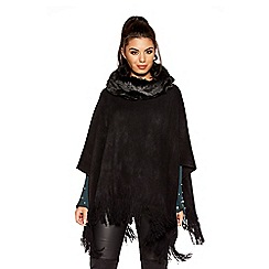 Quiz - Black fur neck poncho