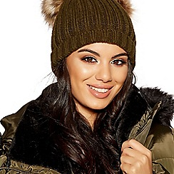 Quiz - Khaki double pom pom hat