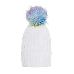 Quiz - White multi coloured pom pom hat