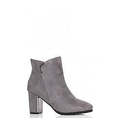 Quiz - Grey faux suede silver trim ankle boots