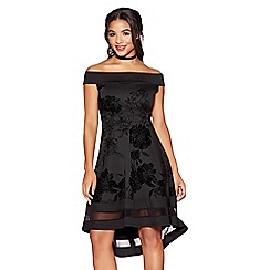 Quiz - Black glitter flock floral print bardot dip hem dress