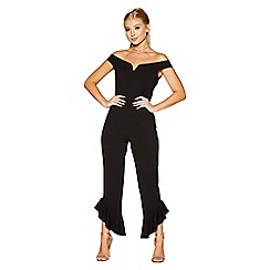 Quiz - Black bardot v bar jumpsuit