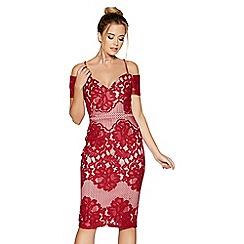 Quiz - Berry lace cold shoulder dress
