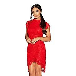 Quiz - Red lace scallop bodycon dress