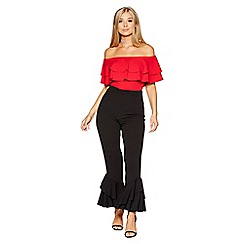 Quiz - Black cropped double frill hem trousers