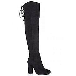 Quiz - Black tie back over the knee boots