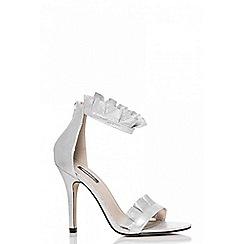 Quiz - Silver shimmer frill heel sandals