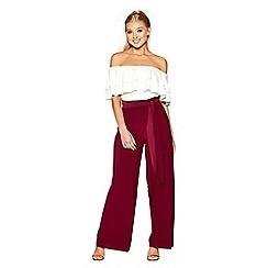 Quiz - Berry pleated tie waist palazzo trousers