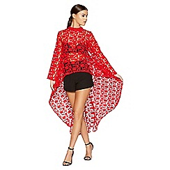 Quiz - Gabby's red lace dip hem long sleeved top